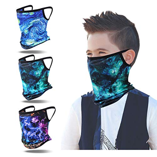 3 Pack Kids Neck Gaiter Ear Loops Face Scarf Summer Cooling Bandana Balaclavas Face Cover for Boys Girls