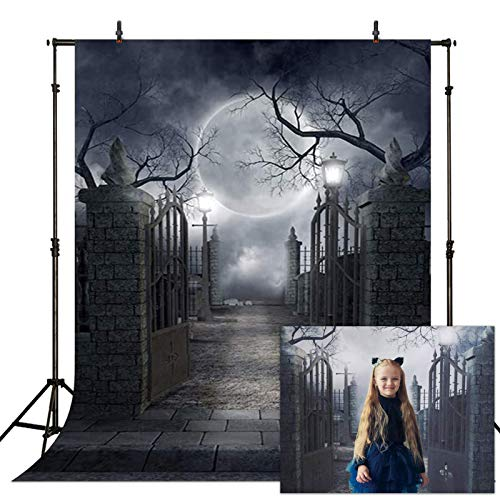 Allenjoy 5x7ft Halloween Decorations Backdrop for Kids Photography Full Moon Horrible Cemetery Spooky Party Banner Scary Theme Photo Background Studio Booth Props
