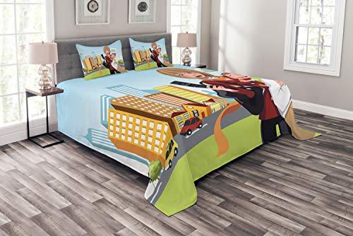 ABAKUHAUS Ruf Mama Tagesdecke Set, Frau Telefon und Ihr Baby, Set mit Kissenbezügen Maschienenwaschbar, für Doppelbetten 220 x 220 cm, Mehrfarbig
