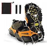Crampones para botas de montaña, crampones de hielo, con 19 puntas de acero inoxidable, para invierno, de alta altitud, senderismo, montañismo, escalada en nieve y hielo, color negro, XL