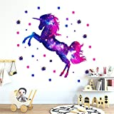 Martin Kench Sticker mural en vinyle pour chambre d'enfant, motif licorne ciel étoilé