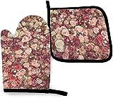 N\A Acuarela Flor Floral Rosas Cocina Horno Manoplas Olla Set, Resistencia al Calor Antideslizante Soportes para Barbacoa cocinar Hornear Parrilla microondas