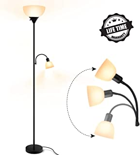 Floor Lamp, Modern Standing Lamp, 9W+4W Energy Saving LED Bulbs, with Adjustable Reading Light, 3000K Warm White, Torchiere LED Floor Lamps for Living Room, Bedroom, Office, Working, Reading