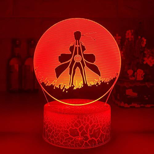 Lámpara de noche 3D con ilusión óptica 3D para niños, Uzumaki, póster para decoración de dormitorio, mejor regalo de cumpleaños, mesita de noche ZMSY