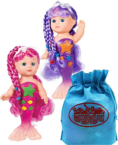 Toysmith Magical Mermaid Bathtime Dolls (9') Gift Set Bundle with Matty's Toy Stop Storage Bag - 2 Pack (Assorted Colors)