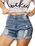 Haola Womens Stretchy Denim Shorts High Waisted Folded Hem Ripped...