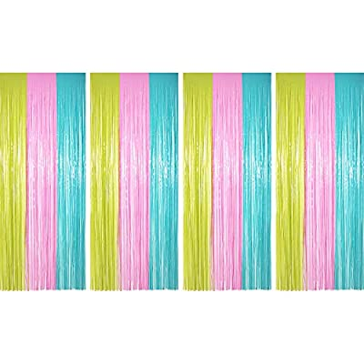 Sumind 4 Pack Foil Curtains Metallic Fringe Cur...