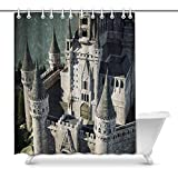 Cortina de baño Old Fairytale Castle on The Hill Aerial View D Rendering Decor Waterproof Polyester Fabric Shower Curtain Bathroom Sets with Rings, 66(Wide) x 72(Height) Inches