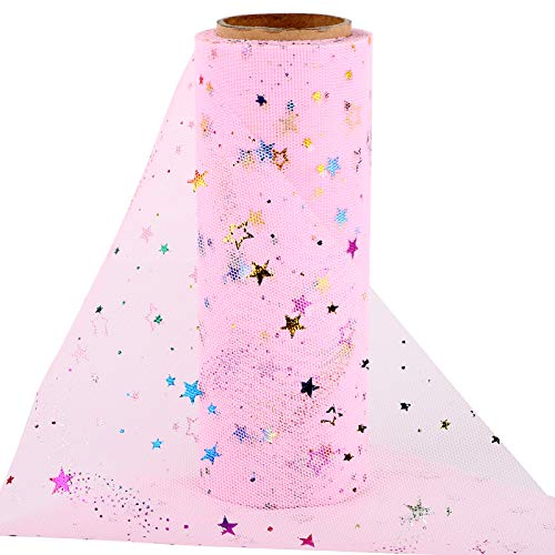 10yardas Rollo Tul Tela Tul Rosa con Estrellas Ancho 15cm Carrete Tulle Decoración Camino de Mesa San Valentín Boda Navidad Fiesta Manualidades Tutú Falda