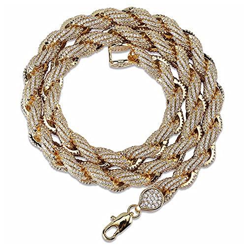 HMMJ Collar Hiphop de Personalidad Trenzada con Cadena giratoria de circón Completo para Hombre NK18050006 (Color : Gold, Size : 22inch)