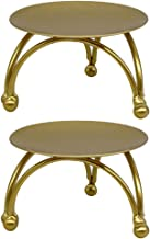 Blesiya Set of 2 Iron Candle Holder Golden Geometric Table Candlestick Candle Plates