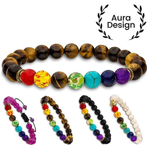 Aura Design 7 Chakra Perlenarmband für Damen und Herren - edle Naturperlen - Yoga Armband - Meditation - Buddha...