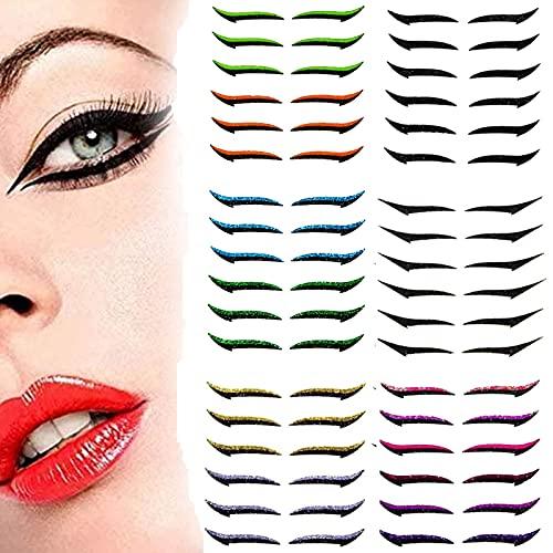 KFGJ Wiederverwendbare Eyeliner-Aufkleber,3D Wimpern Set,Reusable Eyeliner Stickers,Eyeliner Aufkleber Sticker,Wiederverwendbare Eyeliner-Aufkleber,36 Paare A
