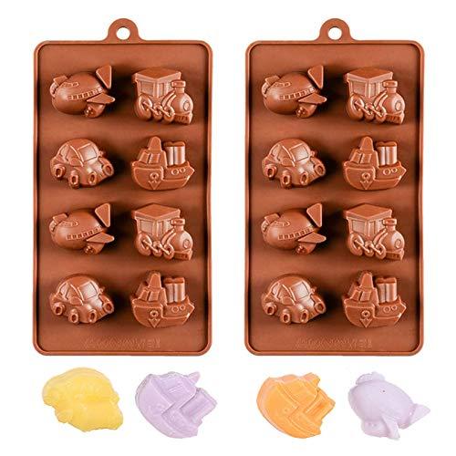 JasCherry 2 Stück Auto Zug Form Silikon Backform Kuchenform Silikonform Pralinenform Backen Kuchenbackform für Schokolade, Süßigkeiten, Gelee, Praline, Eiswürfel und Seife - Flugzeug Dampfer Form # 2