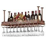 Zfggd Estantes for vinos Altura ajustable en el techo Colgado Colgante Porta botellas de vino, Metal Hierro Estante Vaso de vidrio Cerveza Estante Estante for almacenamiento de decoración de estilo vi