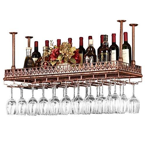 Metal Hierro Estantes for vino Altura ajustable Techo Montado en la pared Colgante Botella de vino Tenedor Estante Copa de vino Cubilete Tartas Bastidores Decoración de la barra Estante de exhibición