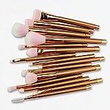 LUGJ - Juego de brochas de maquillaje para principiantes, brochas profesionales para base de maquillaje facial con pelo sintético suave, herramienta de mezcla de base de maquillaje, polvos y colorete