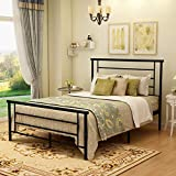 Metal Bed Frame Full Size with Headboard and Footboard Mattress Foundation Metal Platform Heavy Duty Slat Support Box Spring Replacement Bed Black