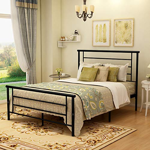 BOFENG Bed Frame Full Size with Headboard and Footboard Storage Mattress Foundation Metal Platform Heavy Duty Slat Support Box Spring Replacement Bed