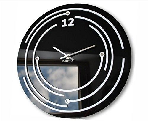 Moderne design wandklok van glas Omega zwart