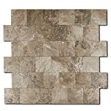 Backsplash Peel and Stick PVC Tile, Stickon Tile for Kitchen Backsplash, Bathroom Vanities, Fireplace Décor, Laundry Table, Stair Decals in Persia Grey (12' X 12', 5 Sheets)