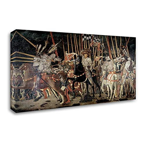 Uccello, Paolo 24x14 Gallery Wrapped Stretched Canvas Art Titled: Battle of San Romano: The Counter Attack of Michelotto Da Contignola
