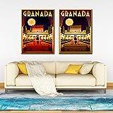 zzlfn3lv Alhambra Granada España póster de Viaje e impresión Digital Pared Arte Lienzo Pintura Vintage Imagen decoración del hogar-50x70cmx3 Piezas