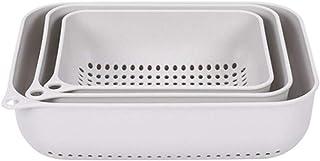 Dolloress Kitchen Strainer Basket Set 3X Colander Draining Basket Bowl for Fruits Vegetables Kitchen Utensils
