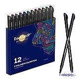 Rotuladores Coloring para niños, EooUooIP®️ 12 Colores Bolígrafos Para Colorear Plumas de Línea Fina con Punta Fina de 0,4 mm, Perfecto para Manualidades, Pintar Mandalas o Material Escolar