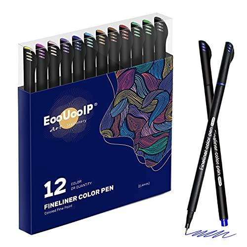 Rotuladores fineliner de 0,4 mm, EooUooIP, 12 colores, punta fina, bolígrafos para colorear, bolígrafos de dibujo, bolígrafos de diario, marcador de punta fina para dibujar, escribir, notas