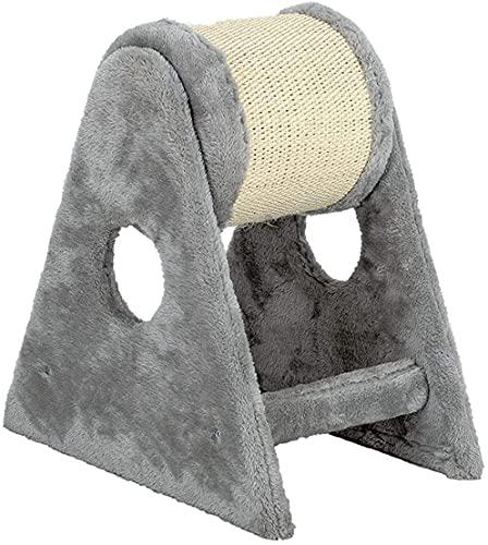 Poste rascador para Gatos, Centro de Actividades para Gatitos con Barril rascador Enrollable de Dos Ejes, diseño Triangular, 15,7 x 9,8 Pulgadas