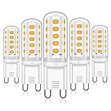 4W G9 LED Lampe 380Lumen warmweiß Ersatz für 28W 33W 40W G9 Halogen Lampen Kein Flackern LED G9 Leuchtmittel, Nicht Dimmbar 360 Grad Winkel G9 LED Glühbirne, 5r Pack [Energieklasse A++]