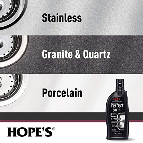 Hope's Perfect Sink Cleaner and Polish, Restorative, Water-Repellant, Removes Stains, Ideal for Brushed Stainless Steel, Cast Iron, Porcelain, Corian, Composite, Acrylic, 8.5 oz 1 Pack