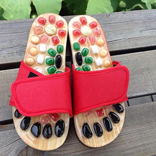 MujeresChanclas,Sandalias y Zapatillas de Verano Zapatillas de Masaje de pies-Rojo_41 / 42