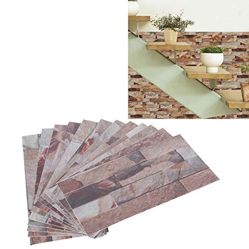 Adhesivo autoadhesivo, adhesivo para azulejos, 12 piezas de papel tapiz, 7,9 x 3,9 pulgadas, adhesivo para suelo de PVC para baño, sala de estar, para inquilinos, para cocina(KIT044)