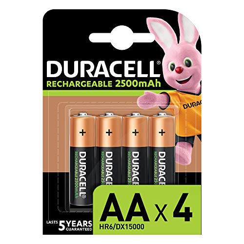 Duracell - Rechargeable AA 2500 mAh Prericaricate, Batterie Stilo Ricaricabili 2500 mAh, 4 Batterie