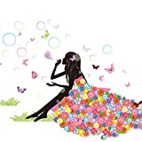 Art Sticker Decal Butterflies Flower Fairy Wall Stickers for Girls Room Decoration Design DIY Removable Wallpaper 3D Vinyl for Home Living Room Bedroom Bathroom Kitchen Decor Mural Quotes Amaone