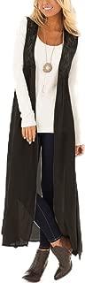 Mogogo Women's Solid Lace Patchwork Trendy Sleeveless Linen Jacket Overcoat