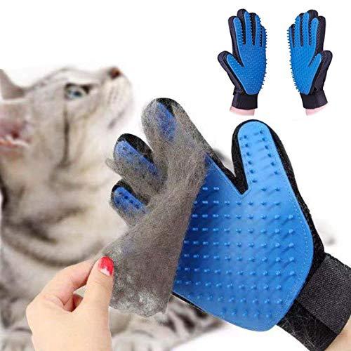 LINKLKBOY 2 Pezzi Guanto Spazzola Cani Gatti di Massagio Guanto, per Raccogliere i Peli e Togliere i Peli, Blu (Tutt Mano Sinistra Mano Destra