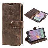 Mulbess Handyhülle für Samsung Galaxy Note 4 Hülle, Leder Flip Case Schutzhülle für Samsung Galaxy Note 4 Tasche, Vintage Braun