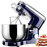 Stand Mixer, Elegant Life 6 Speeds 1500W Tilt-Head Food Mixer, Removable 5.8 L Stainless Steel Mixing Bowl, Kitchen Electric Mixer Includes Beater, Dough Hook, Whisk and Bowl Cover, Blue and Silver