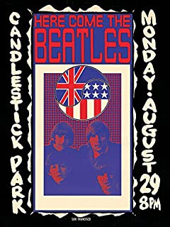 iPosters The Beatles - Candlestick Park - Ready Framed Canvas - 30 x 40 x 3.8cm (12 x 16 x 1.5 Inches) - with Brackets and framers Cord