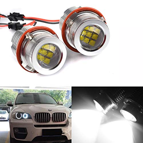 BIOENGIE Scheinwerfer Angel Eyes Tagfahrlicht CREE Auto Birne für E39 E60 E87 E53 E63 E65 Silber (45W)/ schwarz (60W)