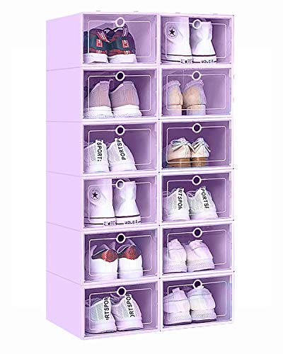 12 Pack Stackable Shoe Storage Organizer Plastic with Lid Clear Shoe Boxes Drop Front  Shoe Containers Bins for Men's Sneaker Women's High Heels – Easy to Assemble Purple