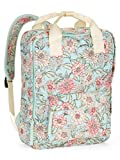 Square Nylon Backpack (Mint Floral)