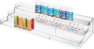 mDesign Large Adjustable, Expandable Plastic Vitamin Rack Storage Organizer Tray for Bathroom Vanity, Countertop, Cabinet - 3 Shelves - Holds Supplements, Medication - Clear