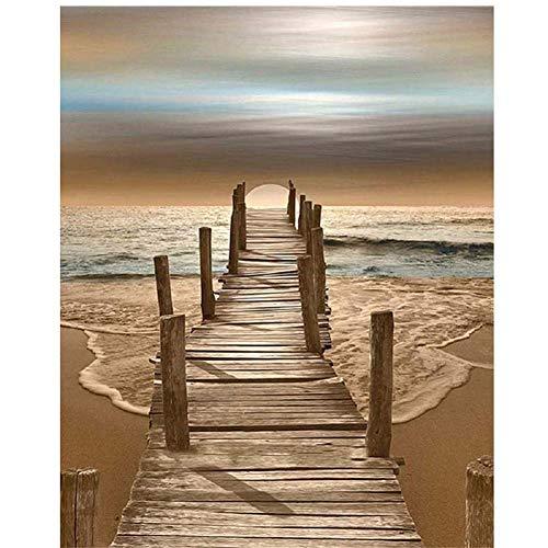 DIY preimpreso de la LON Pintura Regalo para los Adultos Niños Colorear Según Cifras Kits Decoración - Puente hacia el mar 40 x 50 cm,Amarillo