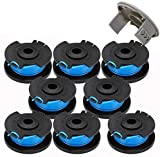 AC14RL3A String Trimmer Replacement Spool Line Suitable for Ryobi One+18v, 24v, 40v Cordless Trimmers,0.065' Auto Feed Cordless Weed Eater Spools Line with AC14HCA Cap Covers Parts(8 Spools, 1 Cap)