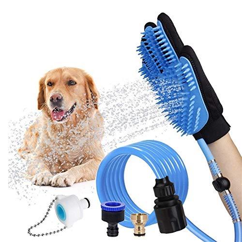 YUNGYE Silikon Haustier Hund Pinsel Handschuh Läuse Entferner Bad Kamm Handschuh Sanfte Deshedding Effiziente Haustier Hund Katze Pflege Handschuh Mit Wasserpfeife (Color : Blue, Size : M)