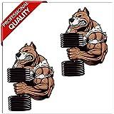 Skino 2 STÜCK Vinyl Aufkleber Stickers AUTOAUFKLEBER Hund Tier Pitbull Fitness Muskeln HANTEL...